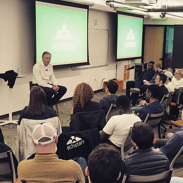 Just hanging out here with @howard.schultz during @techstars. Hearing about the background of @starbucks and what makes a successful company.