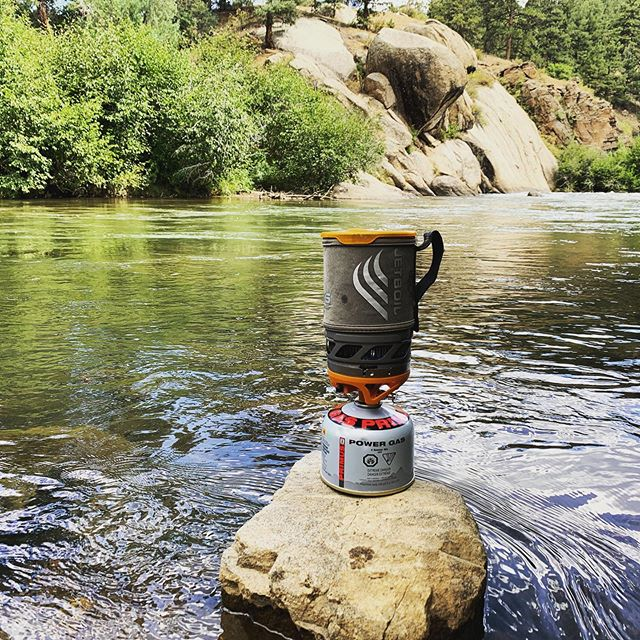 EXTREEEME @jetboil -- making some lunch without a lot of riverbank to play with.