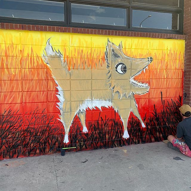 A couple of cool murals going up at Crema for #crushwalls #keyringprivate