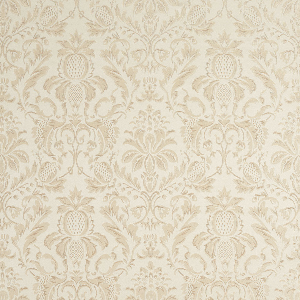 F555 Ivory Floral Pineapple Damask Upholstery Drapery