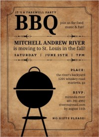 Backyard BBQ Farewell Party Invite   Going Away Invitations