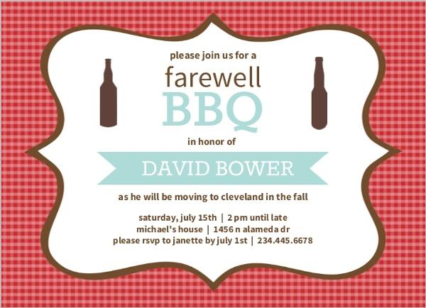 Checkered Backyard BBQ Farewell Party Invite