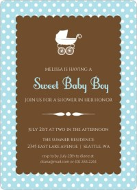 Blue Polka Dot Carriage Baby Shower Invite by Invite Shop