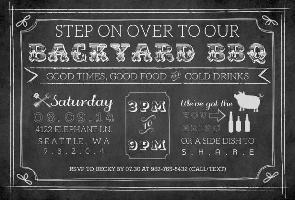 Chalkboard Vintage Backyard BBQ Invitation