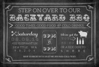 Chalkboard Vintage Backyard BBQ Invitation
