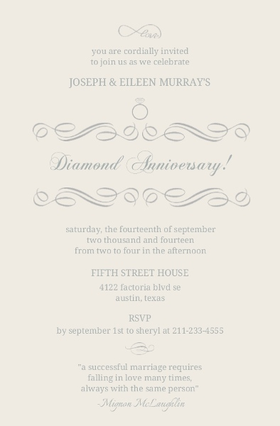 Endless Love Infinity Diamond Anniversary Invitation