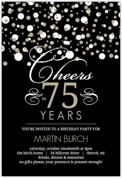 white and taupe elegant confetti 75th birthday invitation