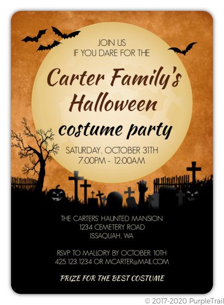 midnight graveyard halloween party invitation