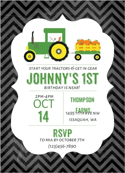 pumpkin patch tractor birthday party invitation
