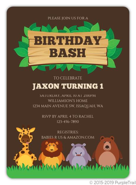 cute safari animals birthday invitation