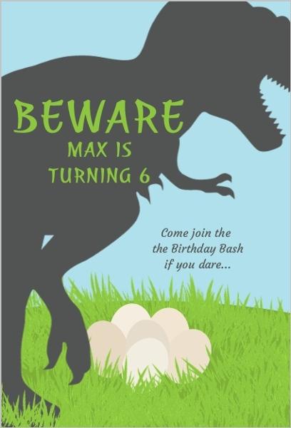 trex dinosaur birthday party invitation
