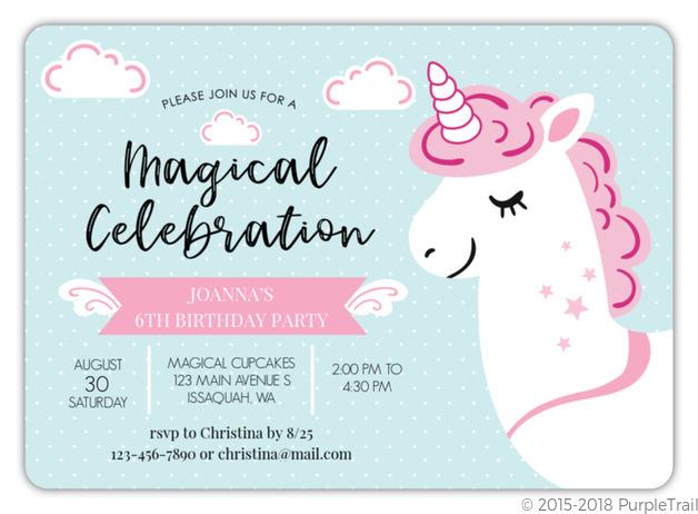 pink and white unicorn birthday invitation