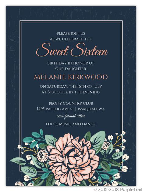 vintage pink peony sweet 16 birthday invitation