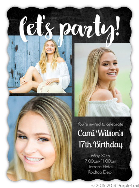 lets party chalkboard birthday party invitation