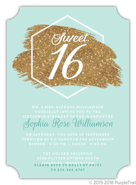 modern chick faux glitter sweet 16th birthday invitation