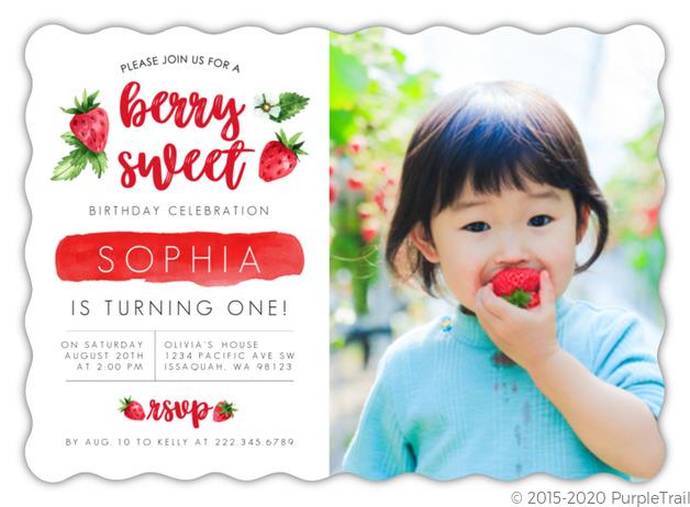 strawberry sweet first birthday invitation