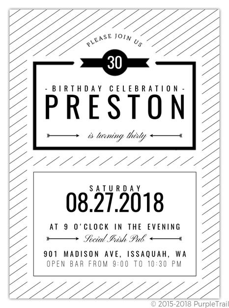 modern black white 30th birthday party invitation