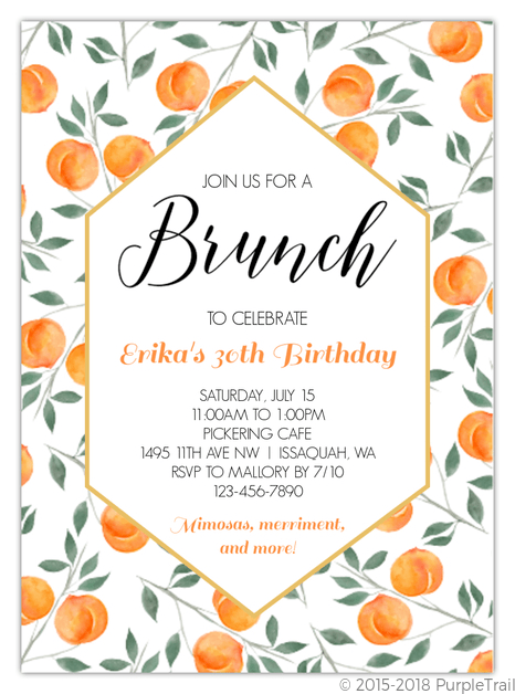 birthday invitation cards brunch