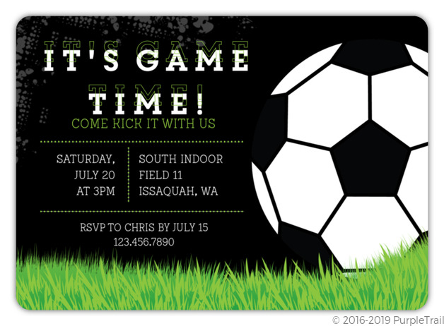game time soccer party invitation