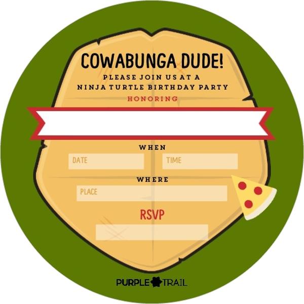 cowabunga ninja turtle birthday fill in the blank invitation
