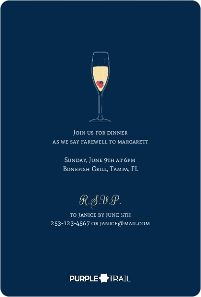 Champagne Toast Farewell Dinner Invitation Going Away