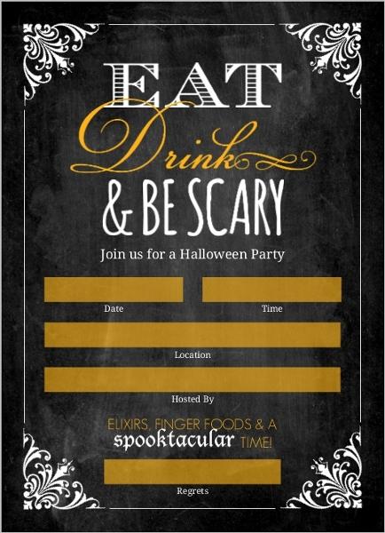 chalkboard vintage frame fill in the blank halloween invitation