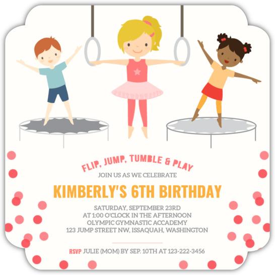 pink gymnastics kids birthday party invitation