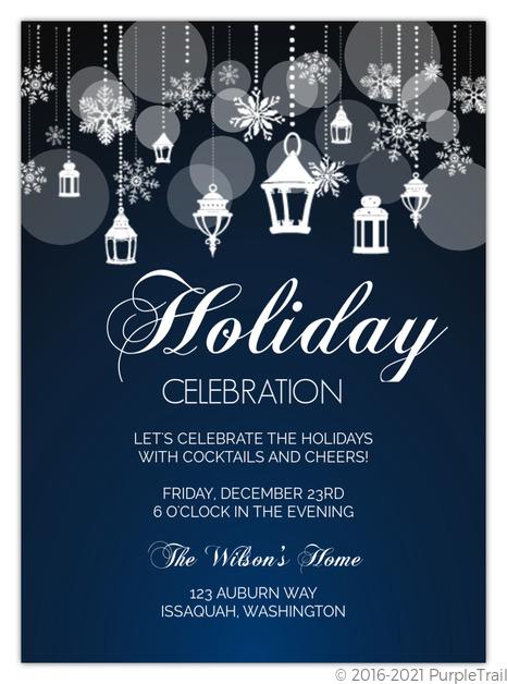 Snowflake Lantern Holiday Party Invitation   Holiday Party Invitations