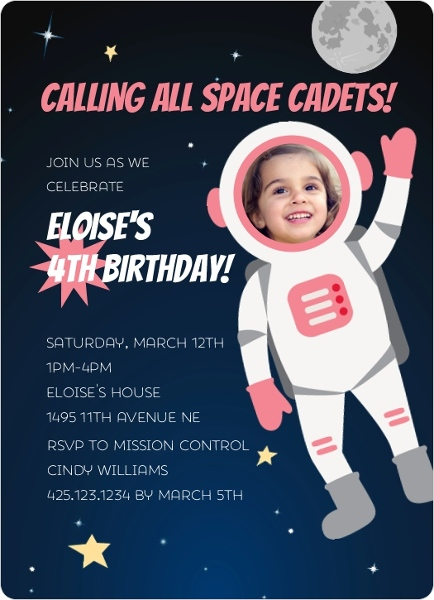 pink astronaut photo birthday party invitation
