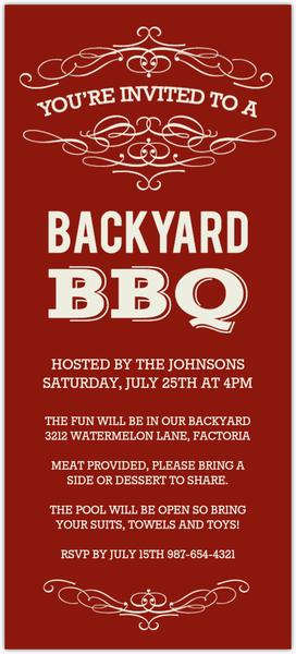 Cream and Red Vintage Backyard BBQ Invitation