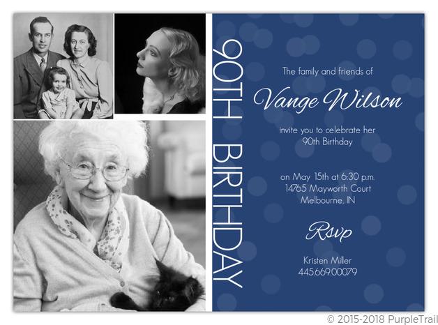 timeline confetti 90th birthday invitation