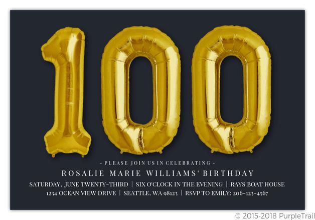 giant golden balloons 100th birthday invitation