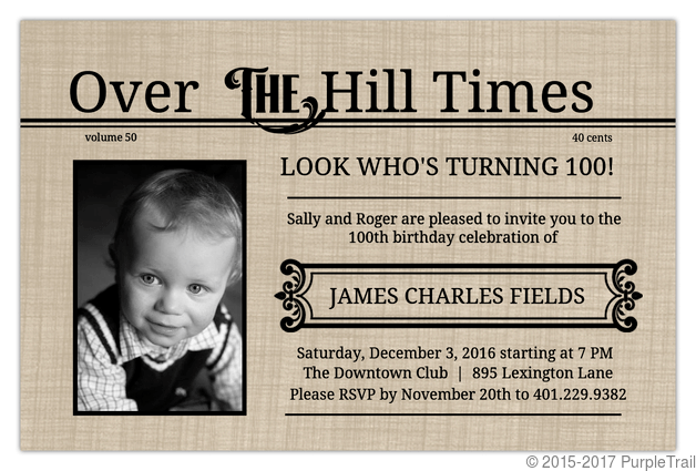 over the hill times 100th birthday invitation