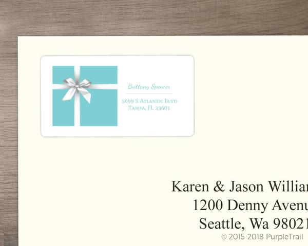 elegant blue address label