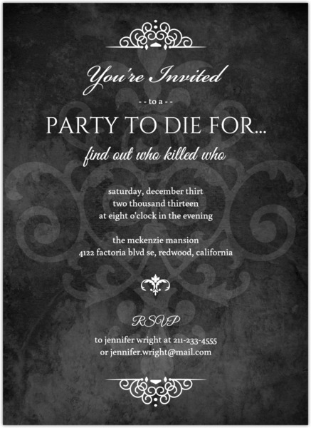 Murder Mystery Black Dinner Party Invitation Dinner