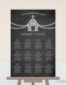 Rustic barn chalkboard wedding seating chart poster also prints rh weddingpaperie