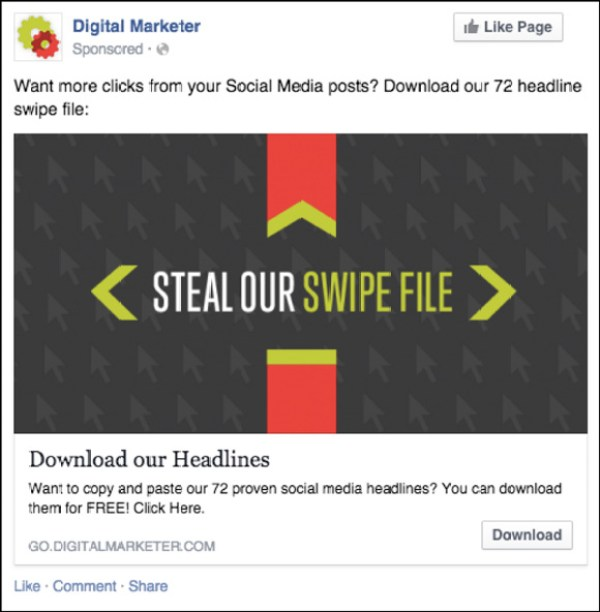 Ultimate Social Media Swipe File Facebook ad from 2014