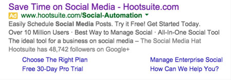 AdWords ad for Hootsuite's Landing Page