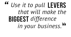 """""""Use it to pull levers that will make the biggest difference in your business."""""""