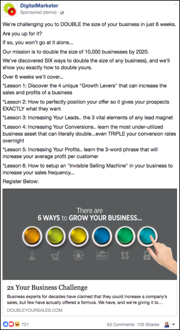 """Double Your Sales"" Facebook ad from 2016"