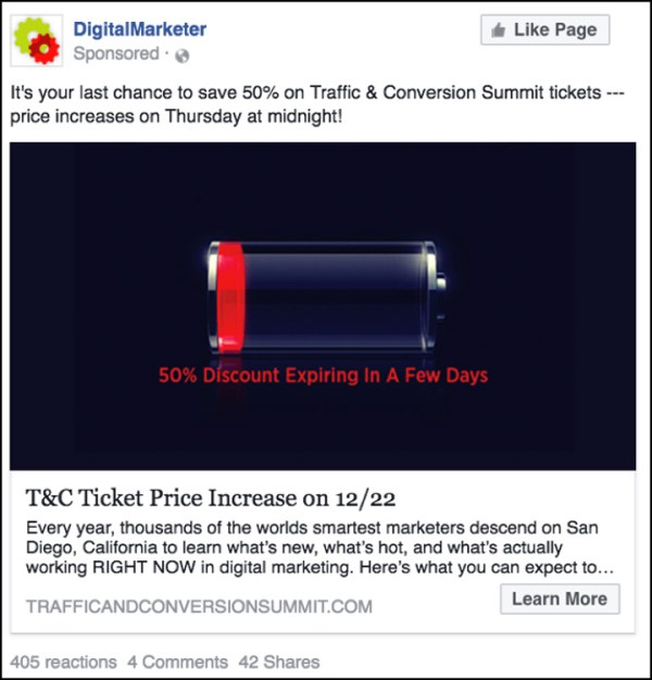 Traffic & Conversion Facebook ad one week before price increase