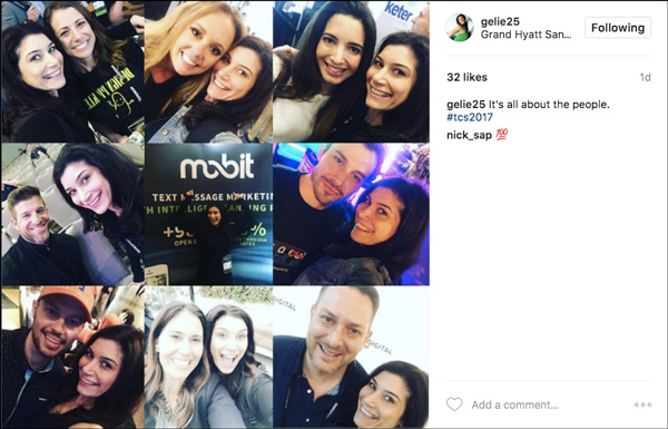 Social media share from Traffic & Conversion Summit 2017 showing the people they met at the event