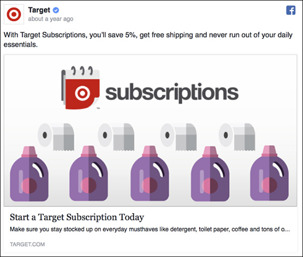 Facebook ad from Target