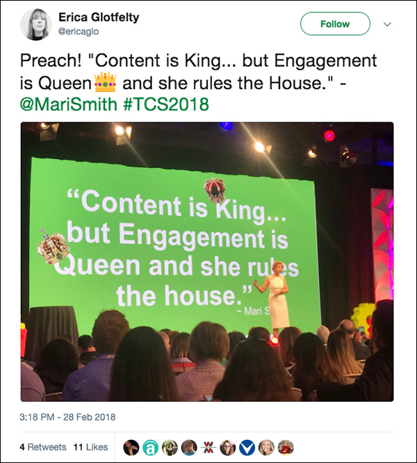 """""""Content is King...but Engagement is Queen, and she rules the house."""" ~Mari Smith"""