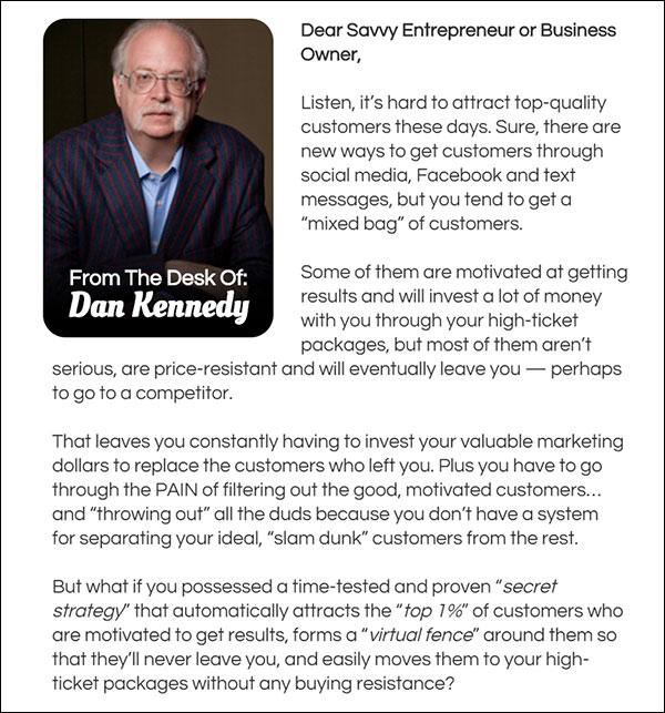 GKIC's persuasive sales letter