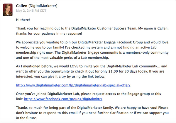 Email sent to a person trying to join DM Engage, notifying them that first they must join DM Lab before they can be admitted to DM Engage