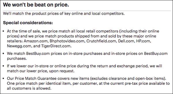 Best Buy's price guarantee