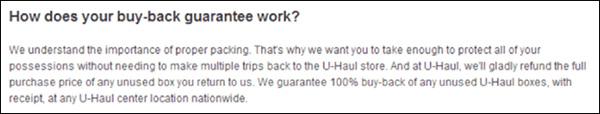 U-Haul's buy-back guarantee for unused boxes
