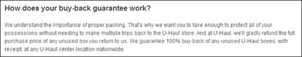 U-Haul's buy-back guarantee for unused boxes