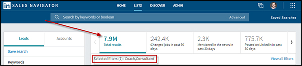 LinkedIn Sales Navigator total coach/consultant search results are 7.9M